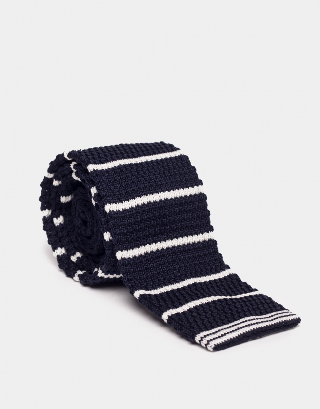 Navy blue cotton piqué straight-edged tie