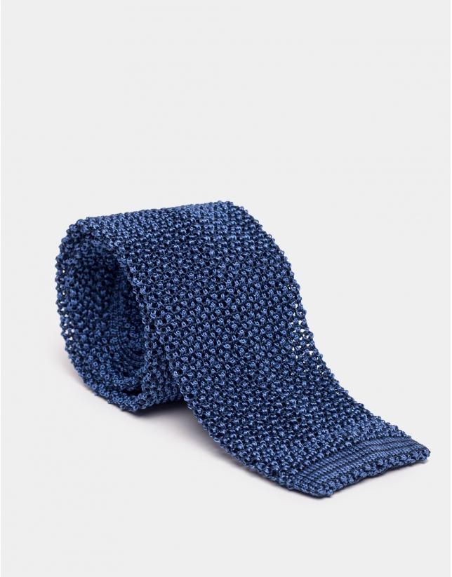 Blue knit silk pique straight-edged tie