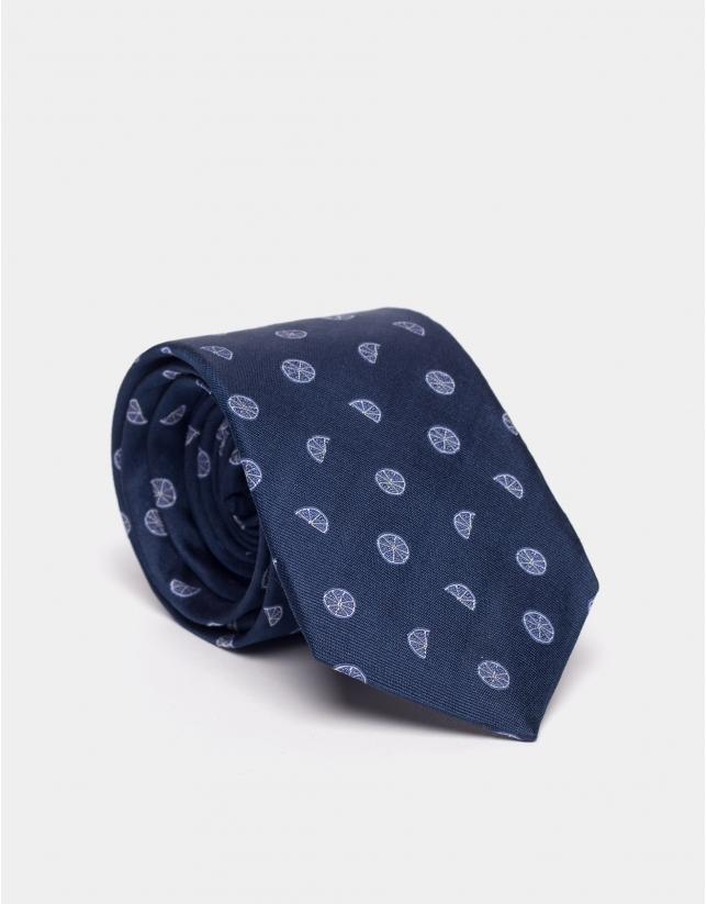 Blue silk tie with citric motifs