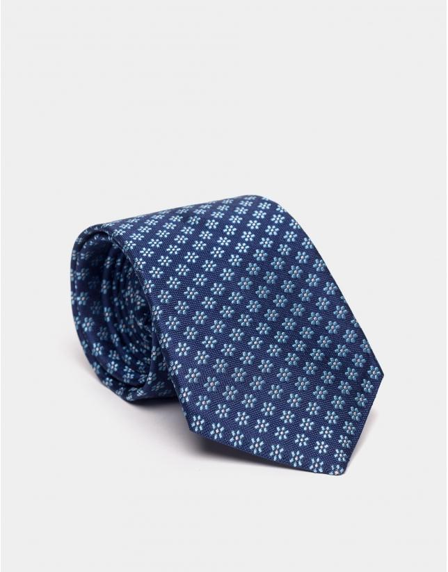 Blue silk jacquard floral print tie