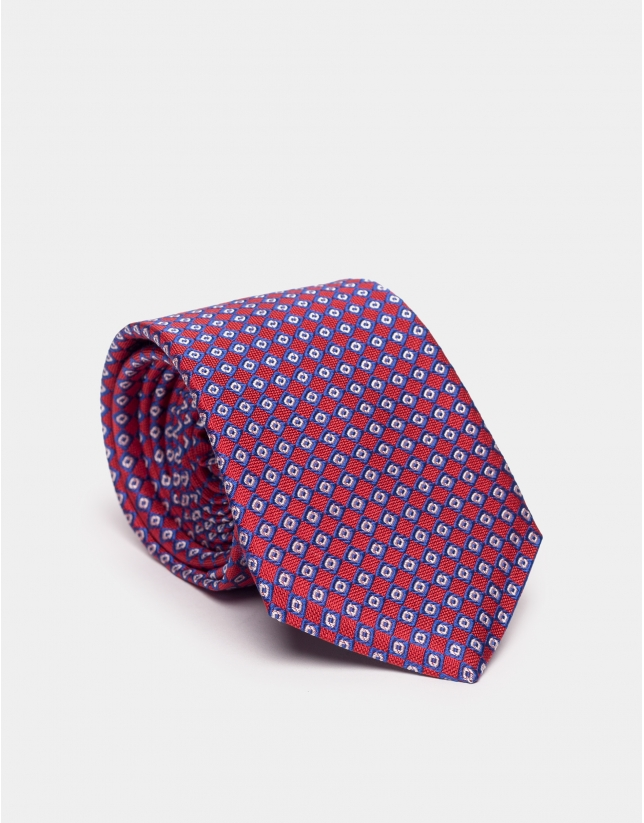 Cravate en soie rouge à jacquard géométrique