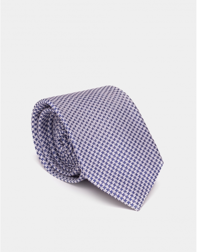 Corbata seda jacquard bicolor azulón/plata