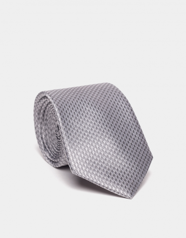 Corbata seda jacquard bicolor gris/plata