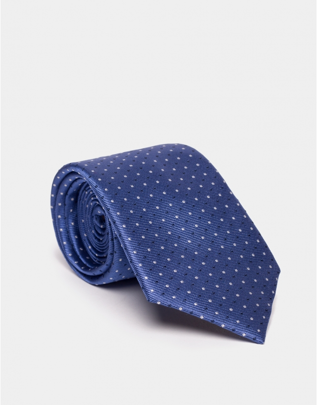 Cravate en soie bleue à jacquard de pois en bleu marine/argent