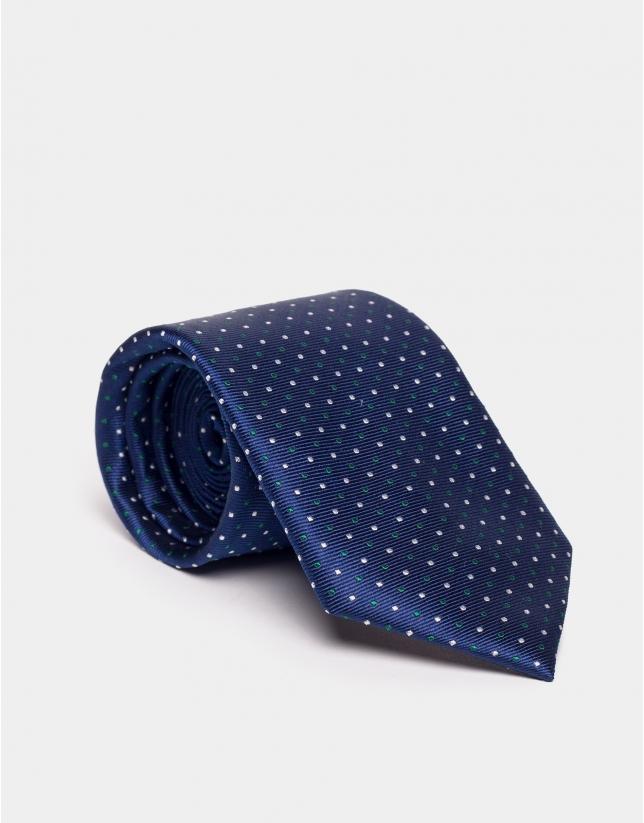 Cravate en soie bleue à jacquard de pois en vert/argent