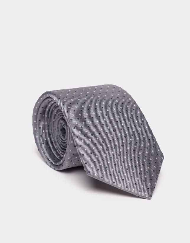 Cravate en soie bleue à jacquard de pois en gris/argent