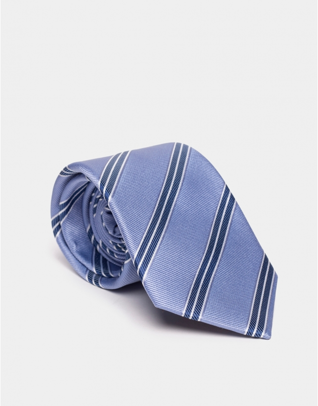 Light blue silk tie with navy blue and beige lines