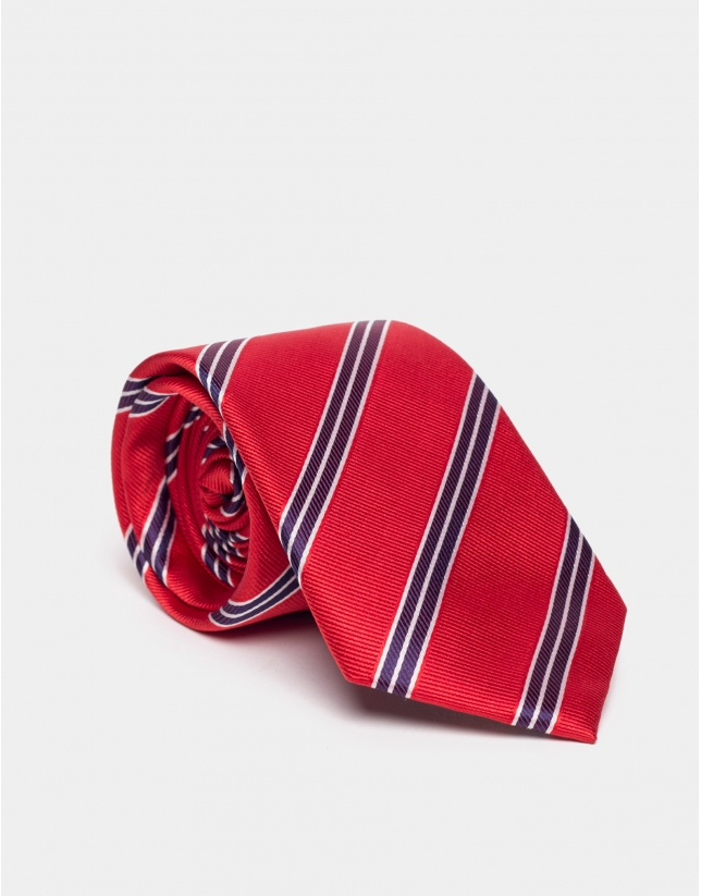 Red silk tie with blue and beige lines