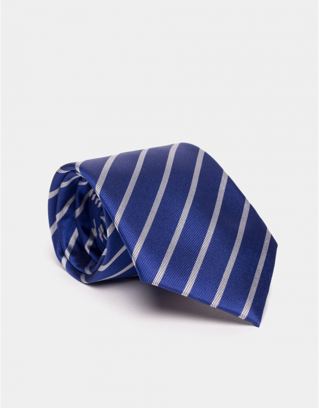 Blue silk tie with beige lines