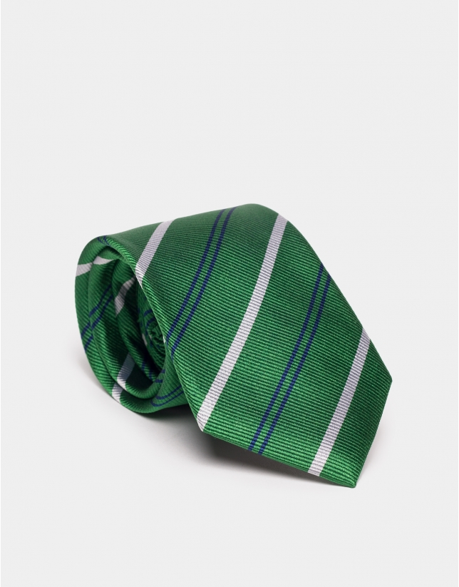 Green silk tie with blue and beige lines