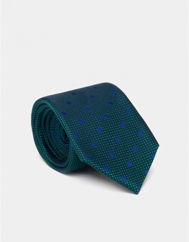 Green and blue silk tie with polka dots