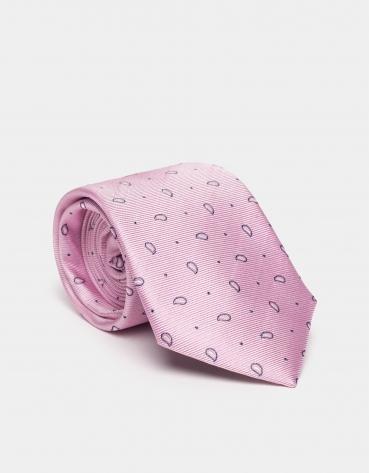 Corbata seda rosa con jacquard cachemire