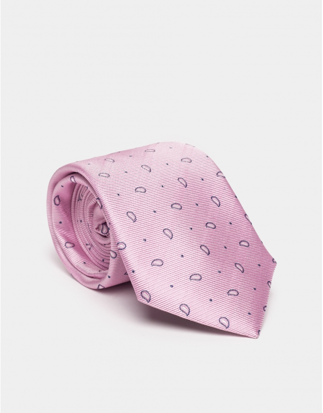 Pink silk tie with dotted jacquard