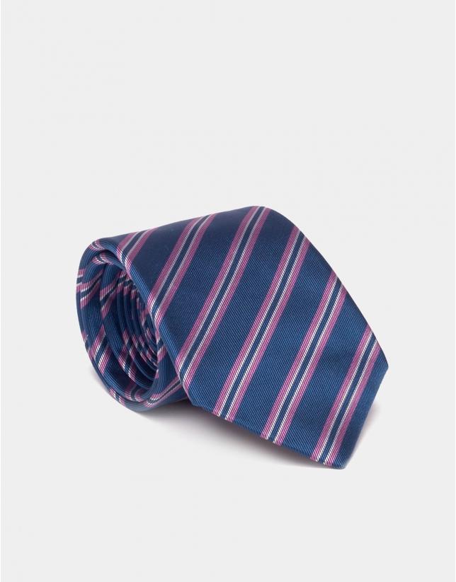 Corbata seda azul con perfiles en rosa/crudo