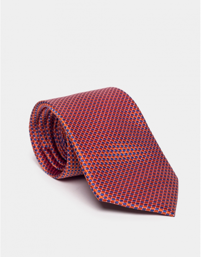 Two-color orange and blue silk jacquard tie