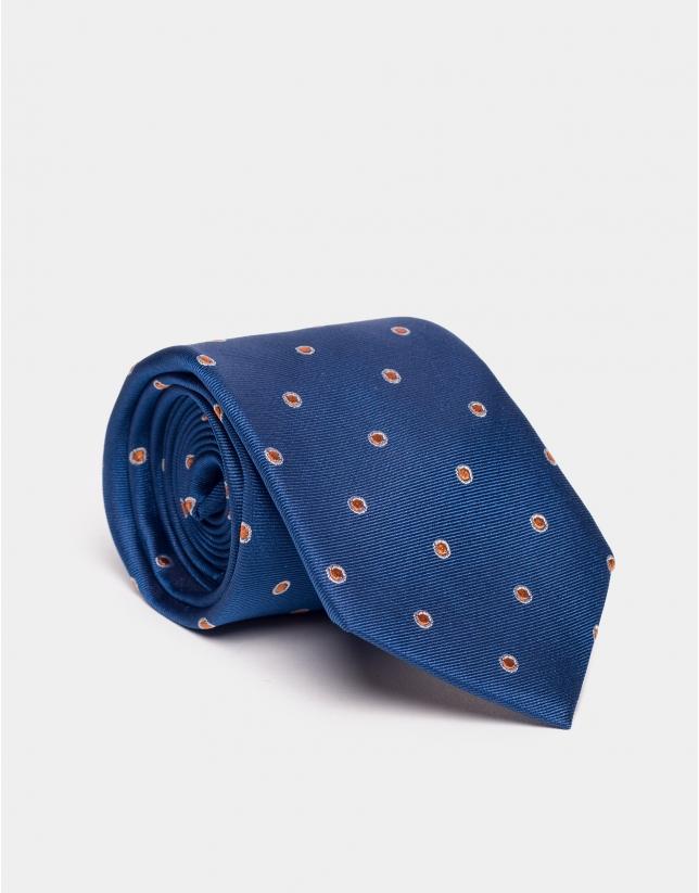 Blue jacquard silk tie with orange dots