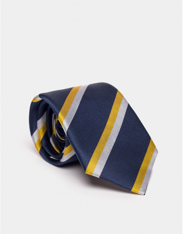 Blue marine silk tie with yellow and beige lines