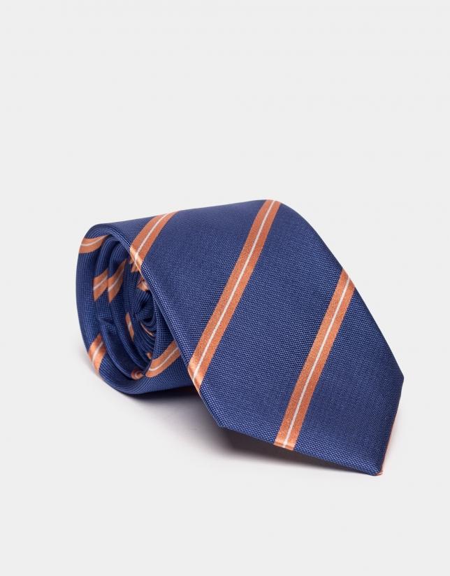 Blue silk tie with orange and beige lines