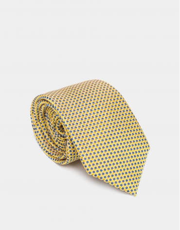 Cravate en soie à jacquard bicolore en jaune/bleu roi