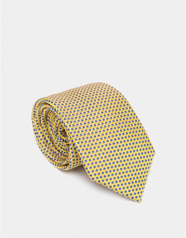 Corbata seda jacquard bicolor amarillo/azulón