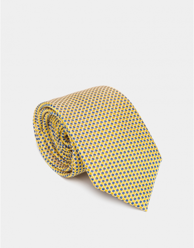 Two-color yellow and blue silk jacquard tie