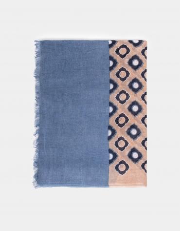 Foulard géométrique imprimé camel à fleurs bleues