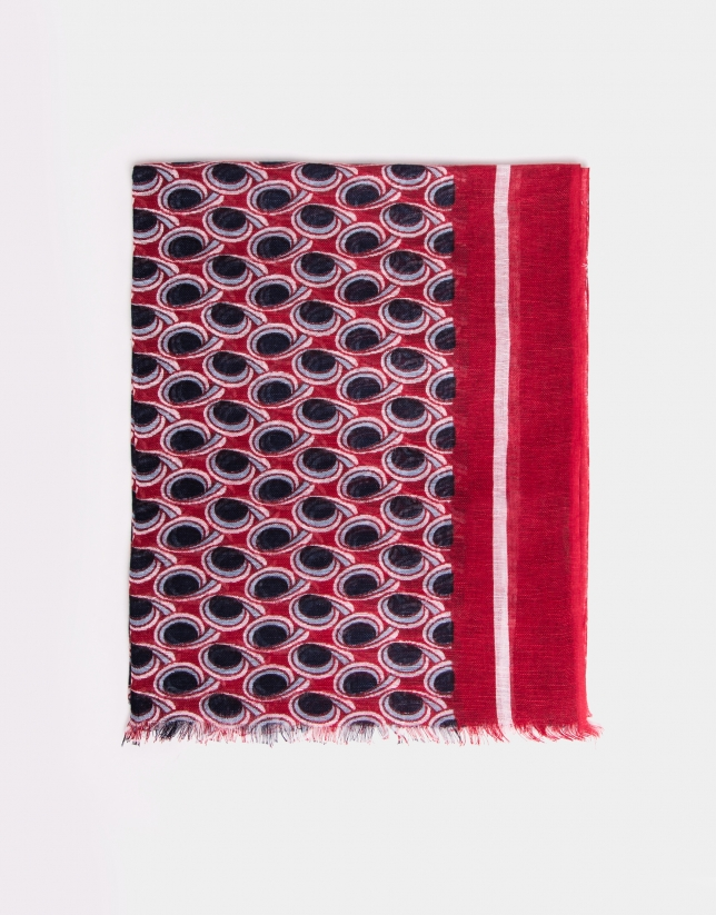 Red, blue and beige geometric print scarf