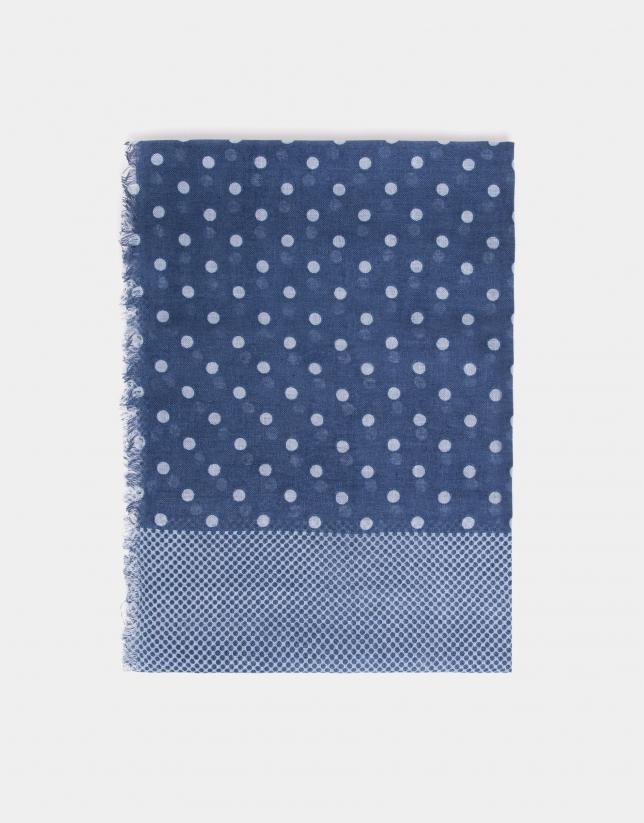 Fular estampado lunares en tonos azules
