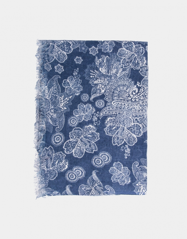 Indigo blue and beige ethnic print scarf