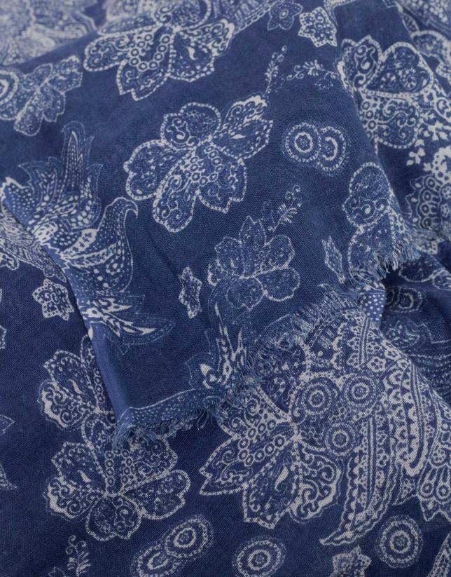 Indigo blue and beige ethnic print scarf