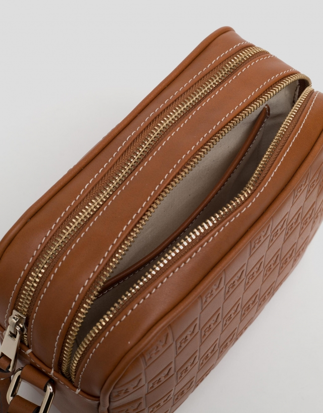 Coffee leather Taylor bag with RV logo