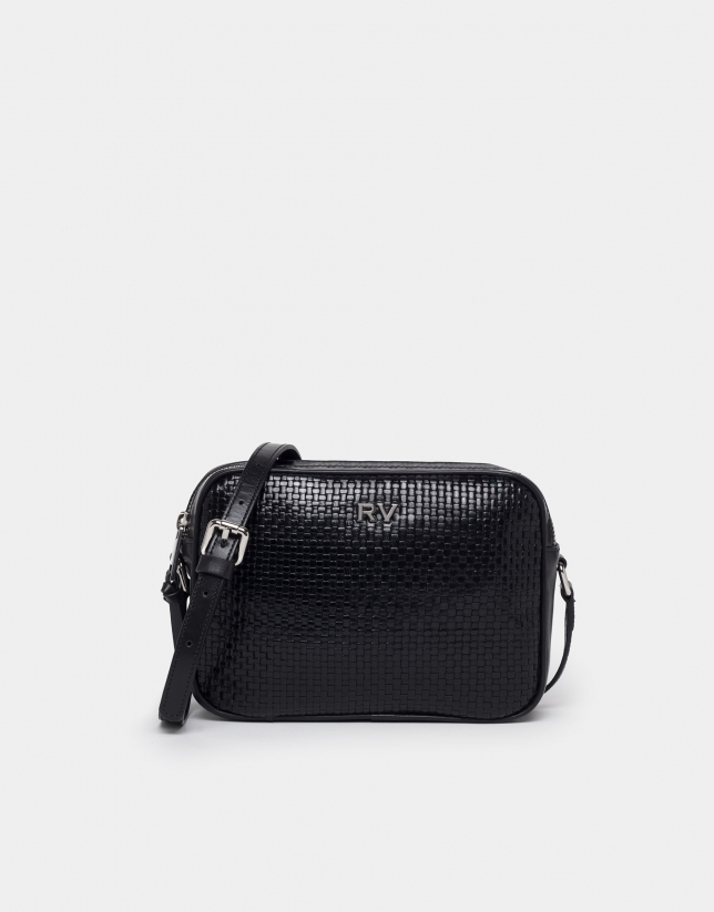 Black braided leather Taylor shoulder bag