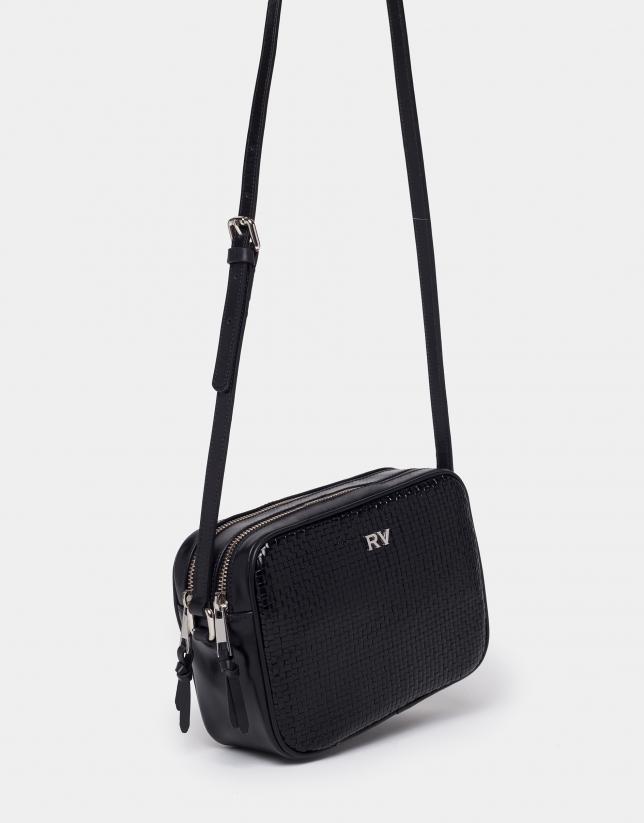 Black braided leather Taylor shoulder bag