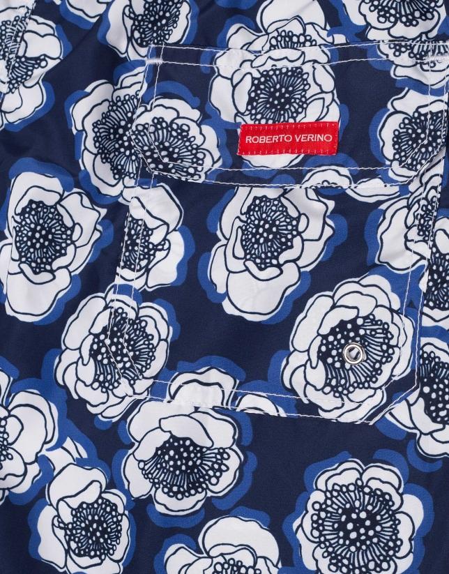 Bañador de secado rápido estampado floral azules