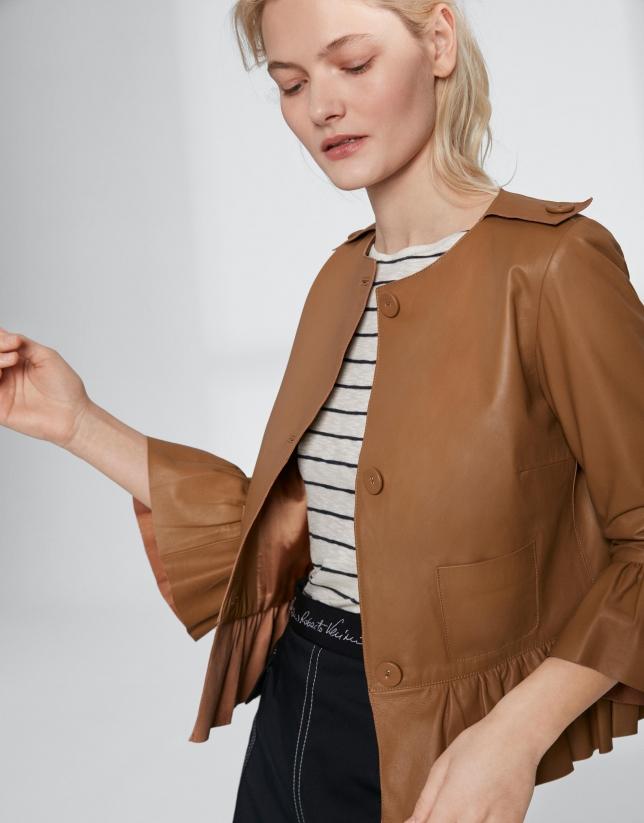 Short mink-colored leather jacket