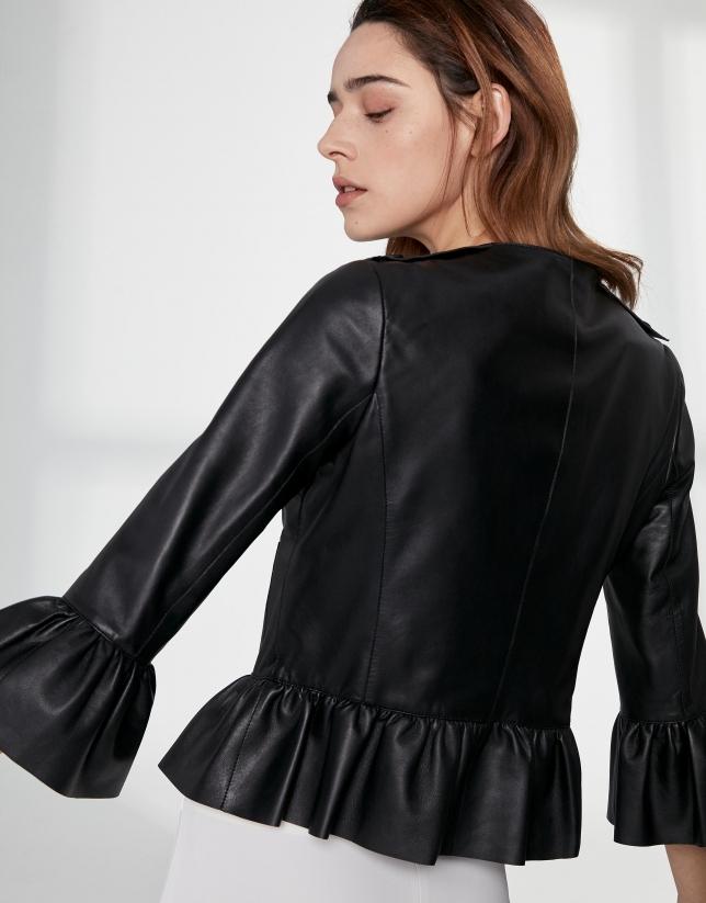 Short black suede jacket
