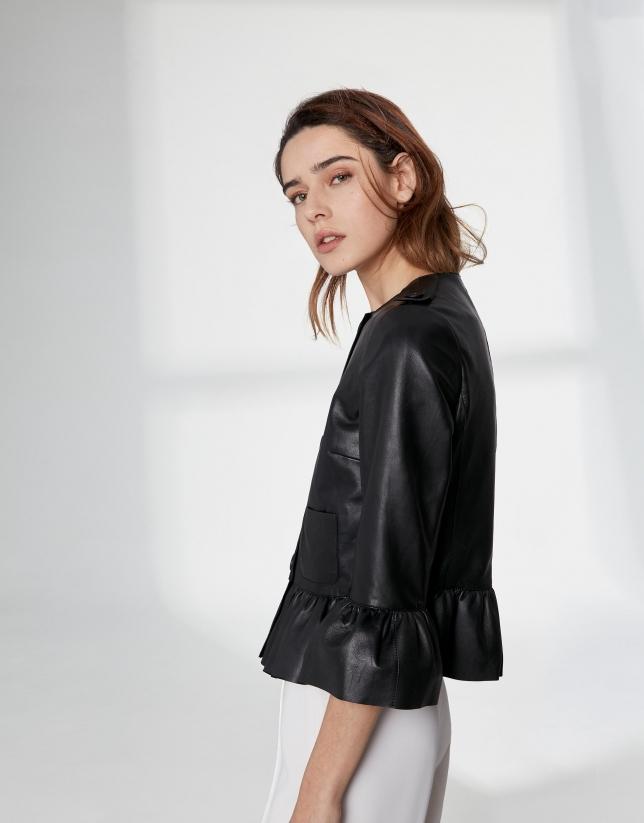 Veste courte couleur noir en daim