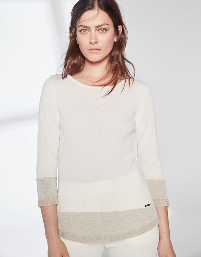 Ivory knit and lurex sweater