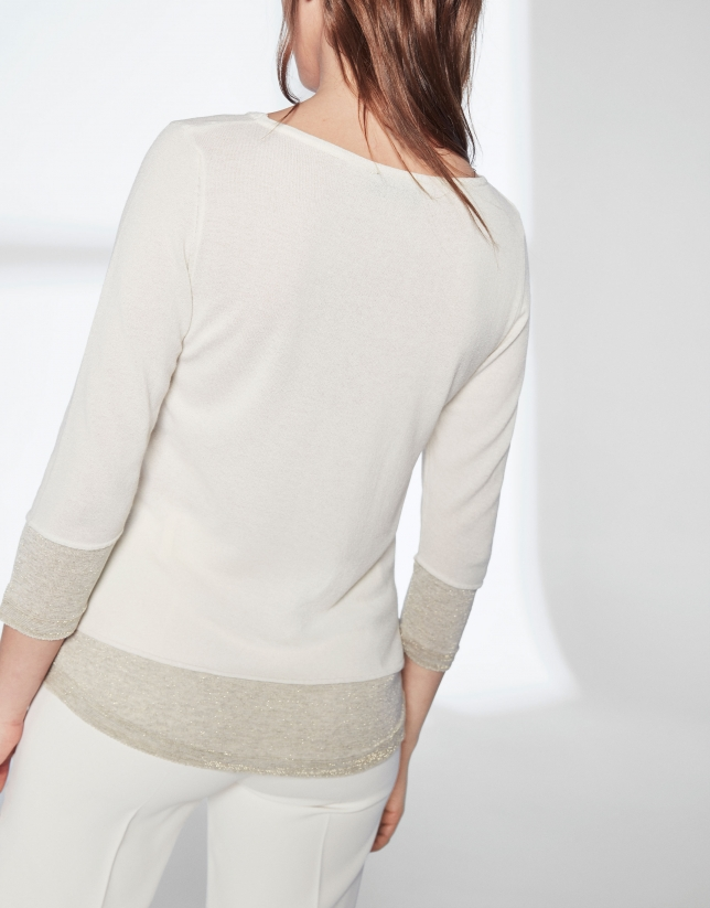 Ivory white knit and lurex sweater