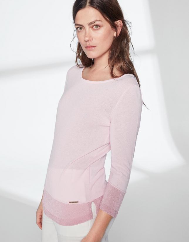 Jersey punto y lúrex rosa pastel