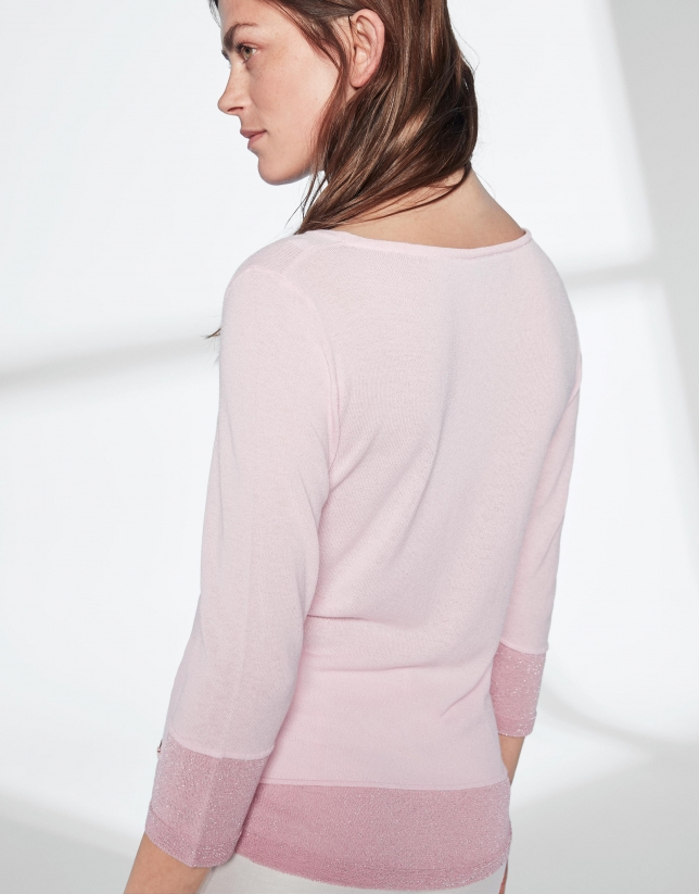 Pastel pink knit and lurex sweater