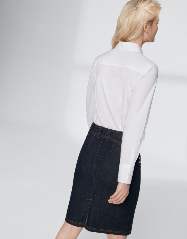 Midi jean skirt with double stitching