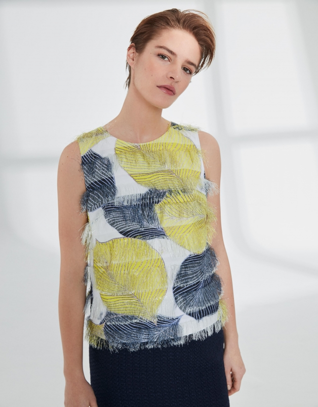 Print jacquard top with fringe