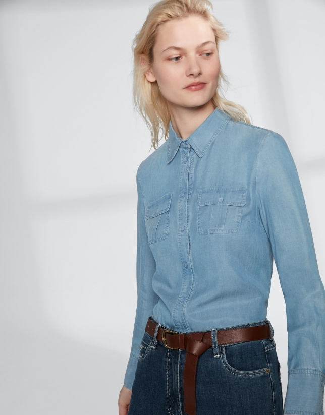 Blue men's jean shirt