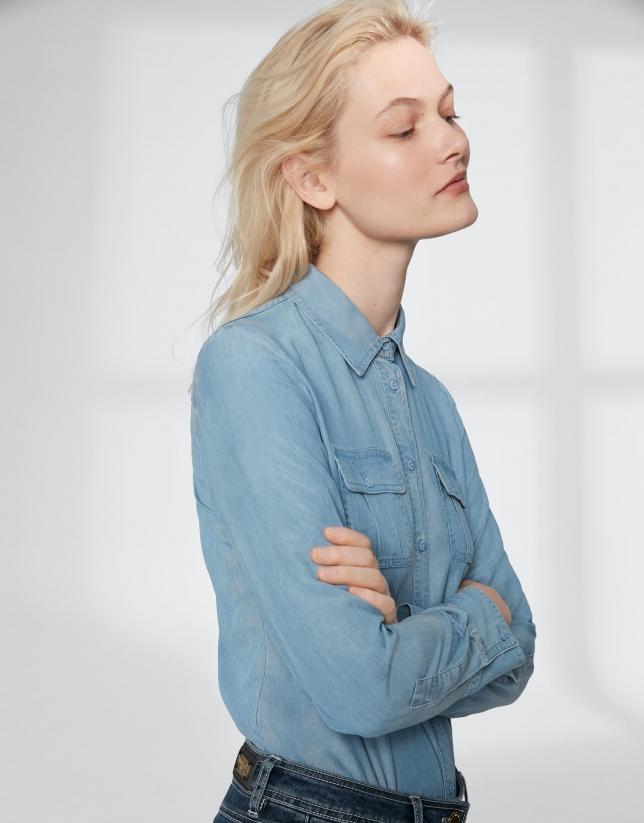 Camisa masculina vaquera azul
