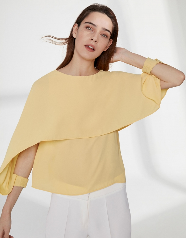 Yellow top with superimposed cape