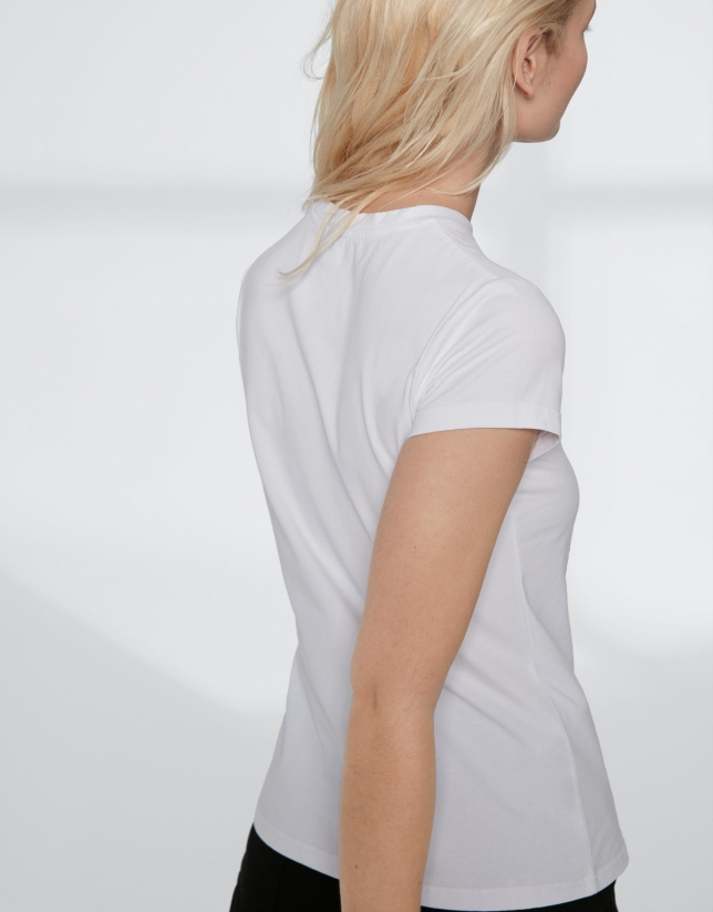 White top with sequined Verino logo