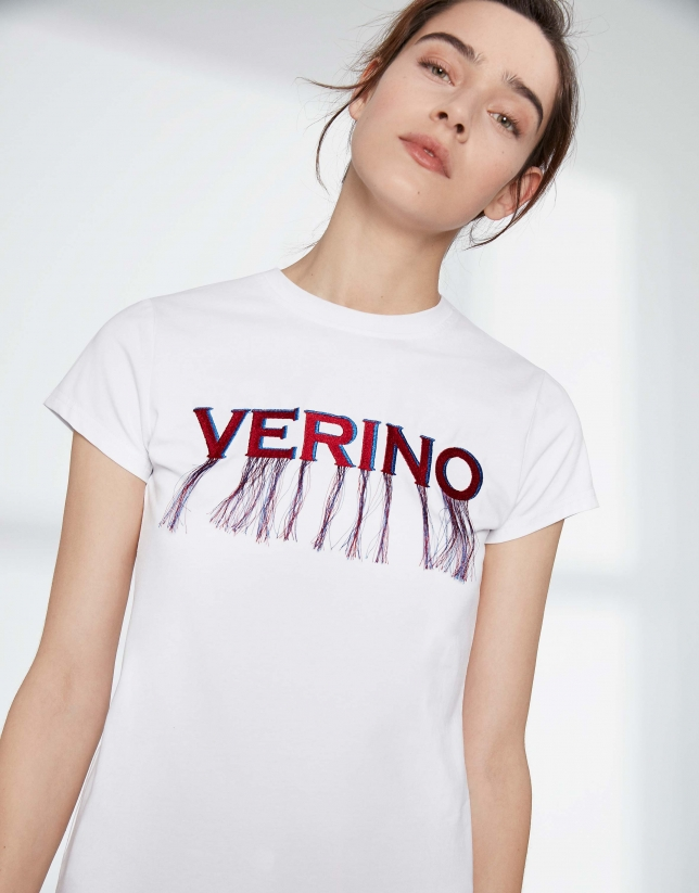 White top with Verino logo and fringe