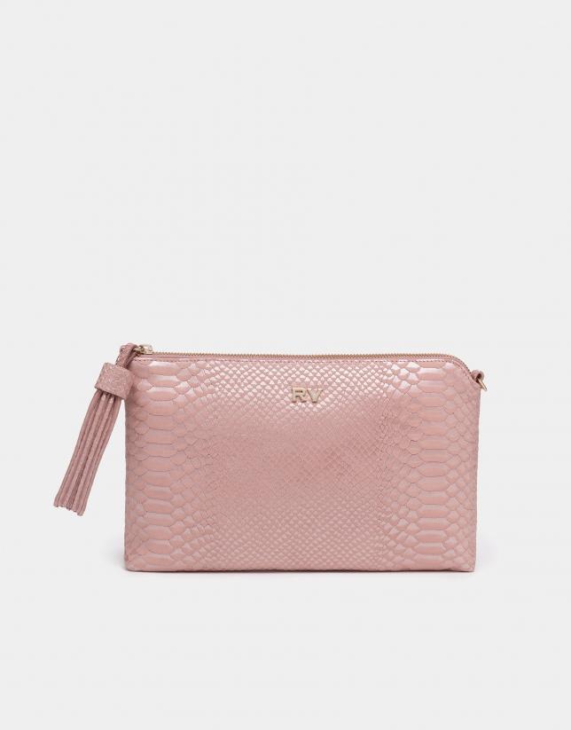 Bolso Lisa piel grabado coco rosa