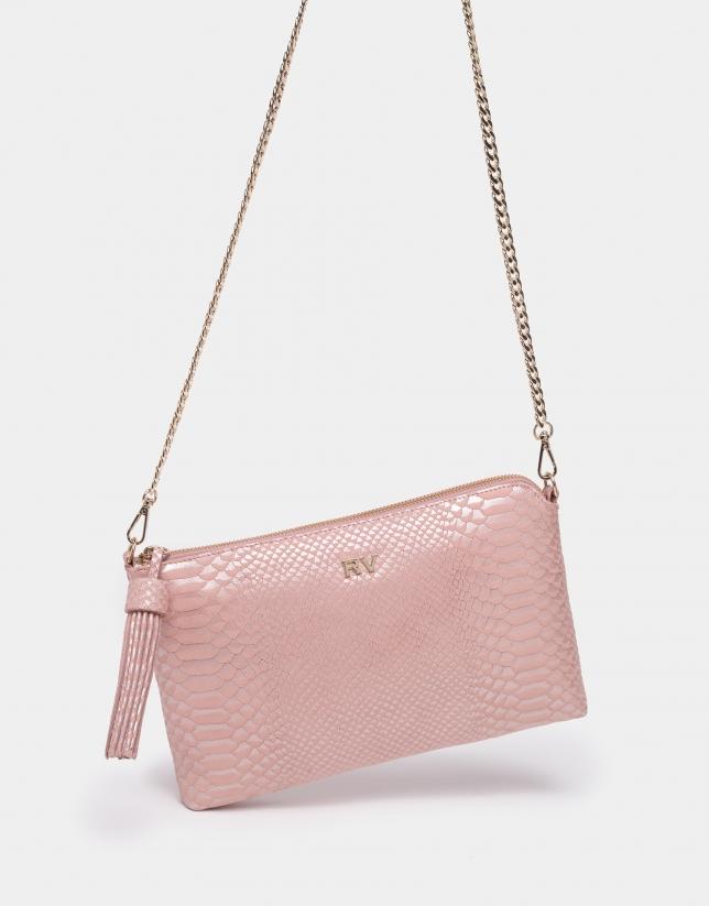 Pink alligator effect embossed leather Lisa bag
